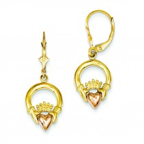 Claddagh Leverback Earrings in 14k Two-tone Gold