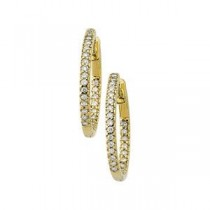 Diamond Hoop Hinged  Earring in 14k Yellow Gold (0.5 Ct. tw.) (0.5 Ct. tw.)