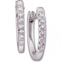 Diamond Hoop Earrings in 14k White Gold (0.2 Ct. tw.) (0.2 Ct. tw.)