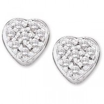 Diamond Heart Earring in 14k White Gold (0.1 Ct. tw.) (0.1 Ct. tw.)