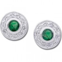 Emerald Diamond Earrings in 14k White Gold (0.1 Ct. tw.) (0.1 Ct. tw.)
