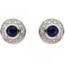 Blue Sapphire Diamond Earrings in 14k White Gold (0.1 Ct. tw.) (0.1 Ct. tw.)
