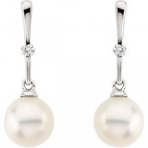 Pearl Diamond Earrings in 14k White Gold