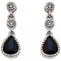 Blue Sapphire Diamond Earrings in 14k White Gold (0.05 Ct. tw.) (0.05 Ct. tw.)