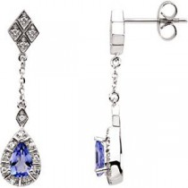 Tanzanite Diamond Earrings in 14k White Gold (0.16 Ct. tw.) (0.16 Ct. tw.)