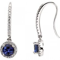 Tanzanite Diamond Earrings in 14k White Gold (0.375 Ct. tw.) (0.375 Ct. tw.)