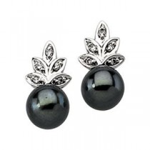 Black Pearl Diamond Earring in 14k White Gold (0.07 Ct. tw.)