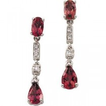 Pink Tourmaline Diamond Earrings in 14k White Gold (0.07 Ct. tw.) (0.07 Ct. tw.)