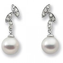 Pearl Diamond Earrings in 14k White Gold (0.01 Ct. tw.)