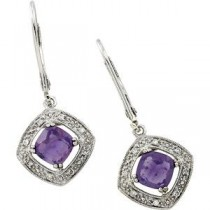 Amethyst Diamond Earrings in 14k White Gold (0.08 Ct. tw.) (0.08 Ct. tw.)