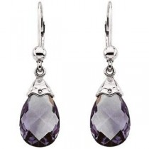 Amethyst Briolette Earrings in 14k White Gold
