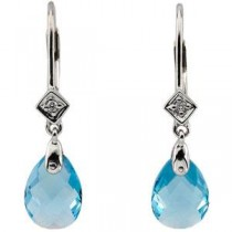 Swiss Blue Topaz Diamond Earring in 14k White Gold (0.025 Ct. tw.) (0.025 Ct. tw.)