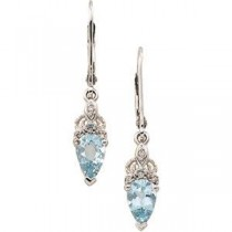 Aquamarine Diamond Earrings in 14k White Gold (0.04 Ct. tw.) (0.04 Ct. tw.)
