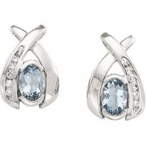 Aquamarine Diamond Earrings in 14k White Gold (0.1 Ct. tw.) (0.1 Ct. tw.)