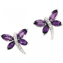 Amethyst Diamond Earrings in 14k White Gold (0.04 Ct. tw.) (0.04 Ct. tw.)