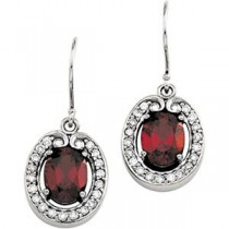 Diamond Gemstone Earrings in 14k White Gold (0.375 Ct. tw.) (0.375 Ct. tw.)