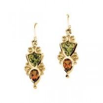 Multicolor Gemstone Earrings in 14k Yellow Gold