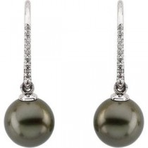Tahitian Pearl Diamond Earrings in 14k White Gold (0.125 Ct. tw.)
