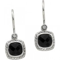 Onyx Diamond Earrings in 14k White Gold (0.03 Ct. tw.) (0.03 Ct. tw.)