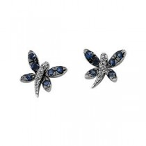 Sapphire Diamond Earrings in 14k White Gold (0.04 Ct. tw.) (0.04 Ct. tw.)
