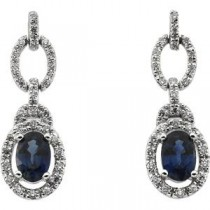 Blue Sapphire Diamond Earrings in 14k White Gold (0.25 Ct. tw.) (0.25 Ct. tw.)