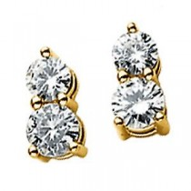 Moissanite Two Stone Earrings in 14k Yellow Gold (0.5 Ct. tw.)