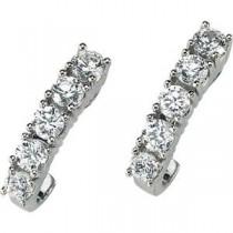 Moissanite J Hoop Earrings in 14k White Gold