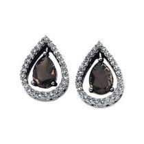 Smoky Quartz Diamond Earrings in 14k White Gold (0.33 Ct. tw.) (0.33 Ct. tw.)