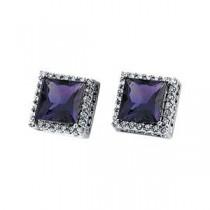 Amethyst Diamond Earrings in 14k White Gold (0.375 Ct. tw.) (0.375 Ct. tw.)