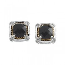 Onyx Diamond Earrings in 14k White Gold & 18k Yellow Gold (0.1 Ct. tw.) (0.1 Ct. tw.)