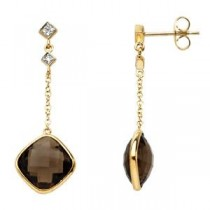 Smoky Quartz Diamond Earrings in 14k Yellow Gold (0.05 Ct. tw.) (0.05 Ct. tw.)