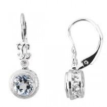 Aquamarine Diamond Earrings in 14k White Gold (0.02 Ct. tw.) (0.02 Ct. tw.)