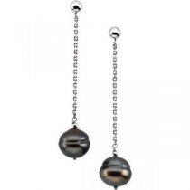 Black Circle Pearl Earrings in Sterling Silver