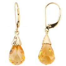 Citrine Briolette Earrings in 14k Yellow Gold