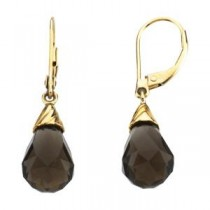 Quartz Briolette Earrings in 14k Yellow Gold