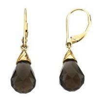 Quartz Briolette Earrings in 14k Yellow Gold