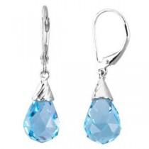 Topaz Briolette Earrings in 14k White Gold