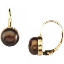 Dyed Chocolate Pearl Earrings in 14k White Gold