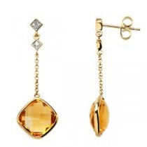 Citrine Diamond Earrings in 14k Yellow Gold (0.05 Ct. tw.) (0.05 Ct. tw.)