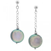 Black Coin Pearl Earrings in Sterling Silver