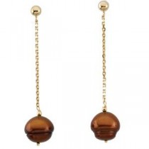Dyed Chocolate Circle Pearl Earrings in 14k Yellow Gold