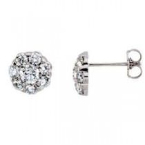 Diamond Cluster Earrings in 14k White Gold (2 Ct. tw.)