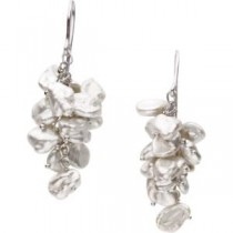 White Cultured Pearl Earring in Sterling Silver
