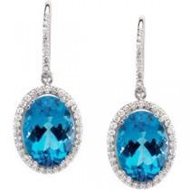 Blue Topaz Diamond Earring in 14k White Gold (0.875 Ct. tw.) (0.875 Ct. tw.)