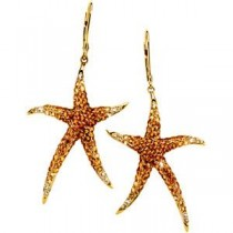 Gemstone Starfish Earrings in 14k Yellow Gold (0.2 Ct. tw.)