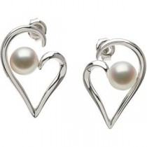 Pearl Heart Earrings in Sterling Silver