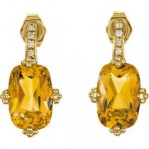 Citrine Diamond Earrings in 14k Yellow Gold (0.06 Ct. tw.) (0.06 Ct. tw.)