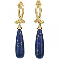 Lapis Earrings in 14k Yellow Gold