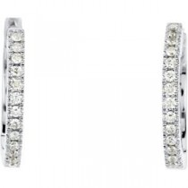 Diamond Hoop Earring in 14k White Gold (0.16 Ct. tw.) (0.16 Ct. tw.)