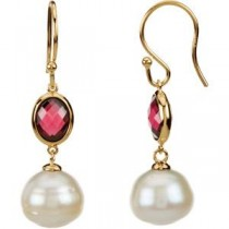 Circle Pearl Garnet Earrings in 14k Yellow Gold